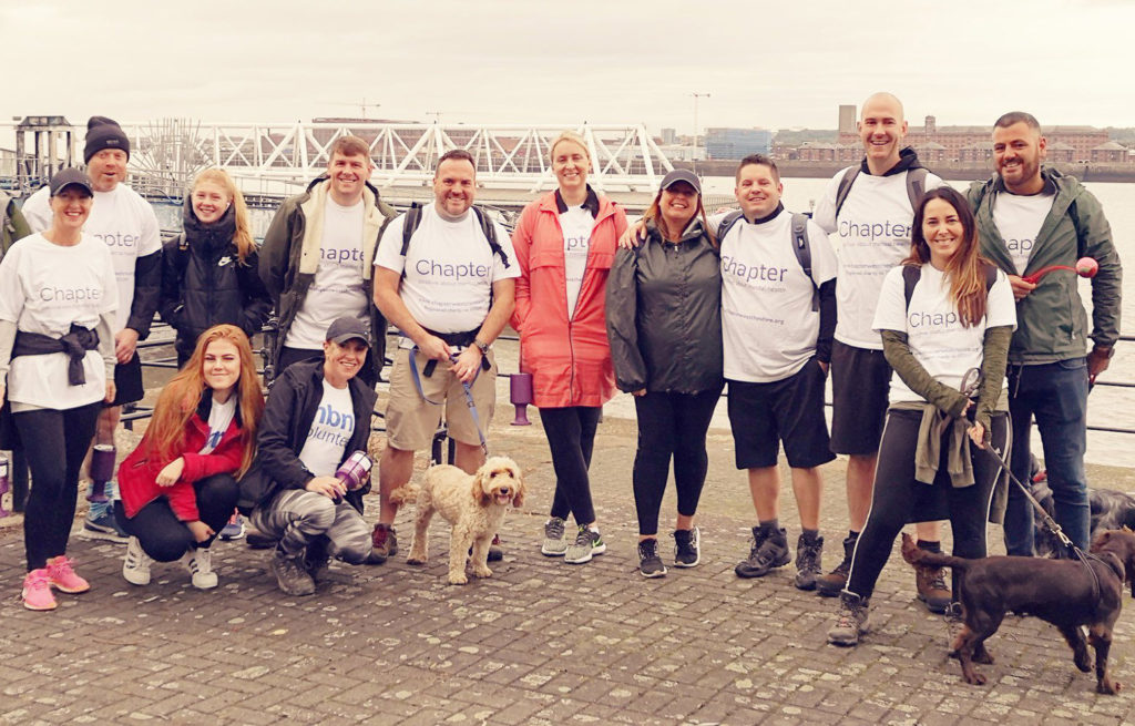 Chapter walking group with staff, service users and volunteers