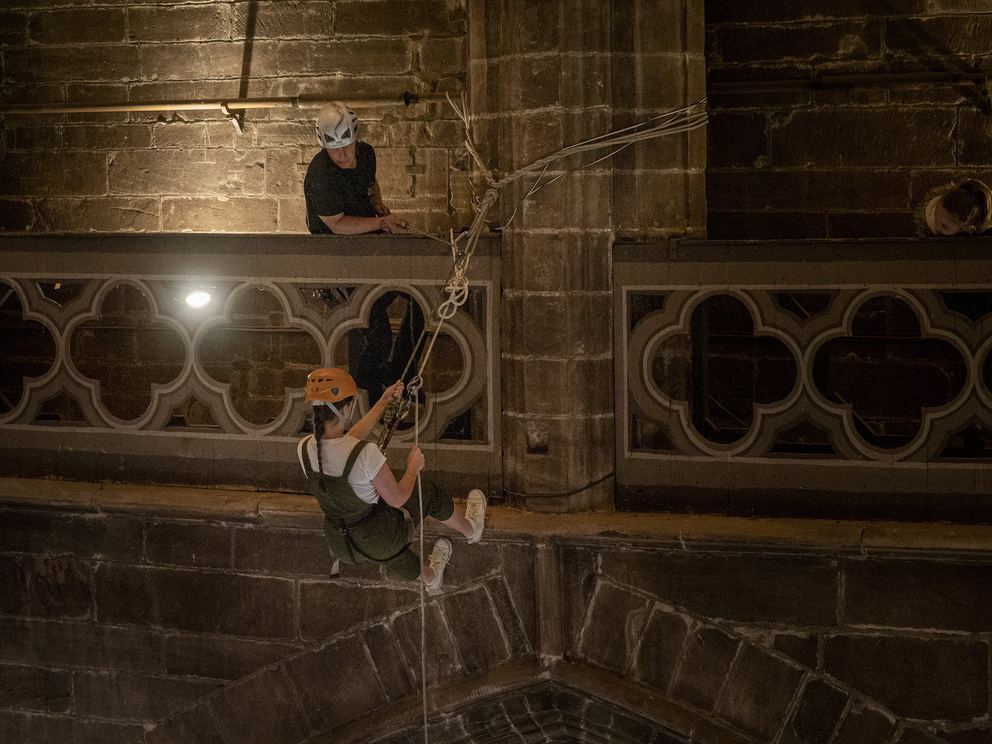 image of an abseil in Chester Cathedral
