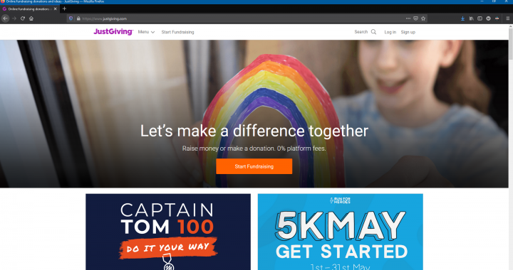 Homepage of JustGiving with the start fundraising banner at the centre